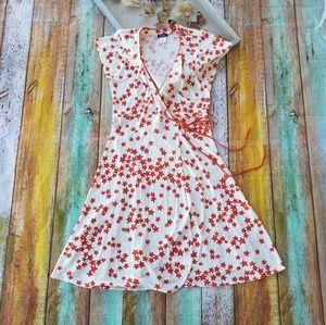 Sonia Rykiel Red Star True Wrap Midi Dress L